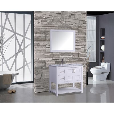 Riney 36 Single Bathroom Vanity Set with Mirror Base Finish: White
