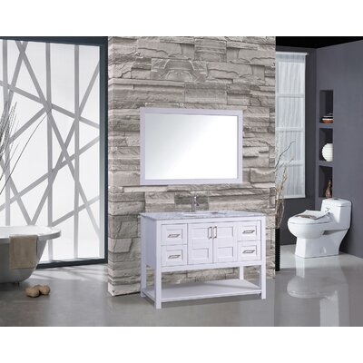 Ringler 48 Single Bathroom Vanity Set with Mirror Base Finish: White