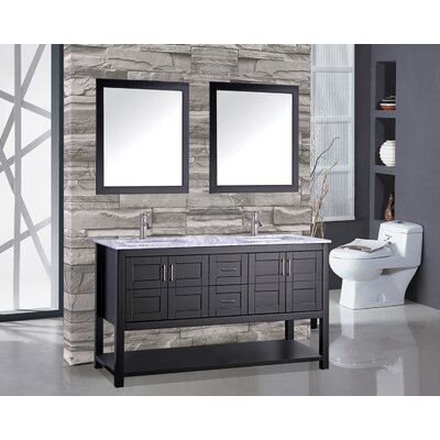 Rinker 60 Double Bathroom Vanity Set with Mirror Base Finish: Espresso