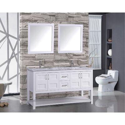 Rinker 60 Double Bathroom Vanity Set with Mirror Base Finish: White