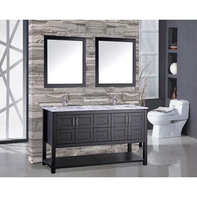 Riordan 72 Double Bathroom Vanity Set with Mirror Base Finish: Espresso