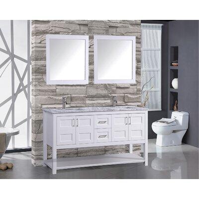 Riordan 72 Double Bathroom Vanity Set with Mirror Base Finish: White