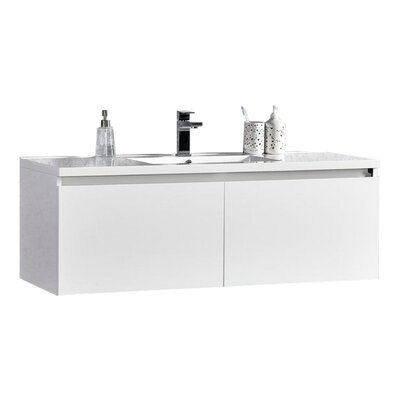 Peguero 47 Single Sink Bathroom Vanity Set Base Finish: White