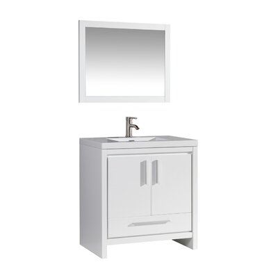 Peiffer 36 Single Sink Bathroom Vanity Set with Mirror Base Finish: White Wood Veneer