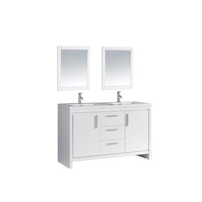 Peiffer 59 Double Sink Bathroom Vanity Set with Mirror Base Finish: White Wood Veneer