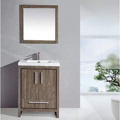 Peiffer 24 Single Sink Bathroom Vanity Set with Mirror Base Finish: Gray Pine