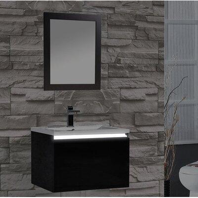 Peguero 24 Single Sink Bathroom Vanity Set Base Finish: Black