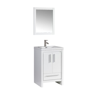 Peiffer 24 Single Sink Bathroom Vanity Set with Mirror Base Finish: White Wood Veneer