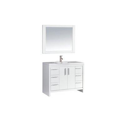 Peiffer 48 Single Sink Bathroom Vanity Set with Mirror Base Finish: White Wood Veneer