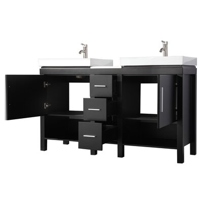 Pouliot Modern 60 Wood Base Double Bathroom Vanity Set Base Finish: Espresso