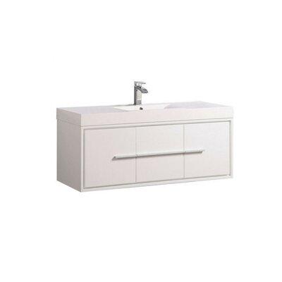 Peirce Wall Mounted Modern 48 Single Bathroom Vanity Set Base Finish: White