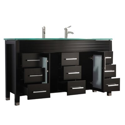 Pratt Modern 63 Double Bathroom Vanity Set Base Finish: Espresso