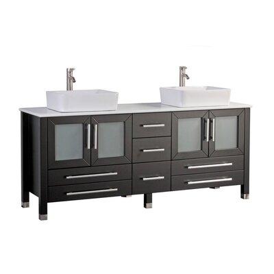 Govea 61 Double Bathroom Vanity Set Base Finish: Espresso