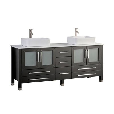 Govea Modern 71 Double Bathroom Vanity Set Base Finish: Espresso