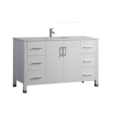 Predmore Modern 60 Single Bathroom Vanity Set Base Finish: White