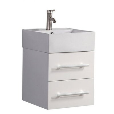 Poulos Wall Mounted Modern 18 Single Bathroom Vanity Set Base Finish: White