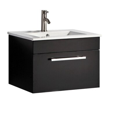 Poulos Modern Wall Mounted 24 Single Bathroom Vanity Set Base Finish: Espresso