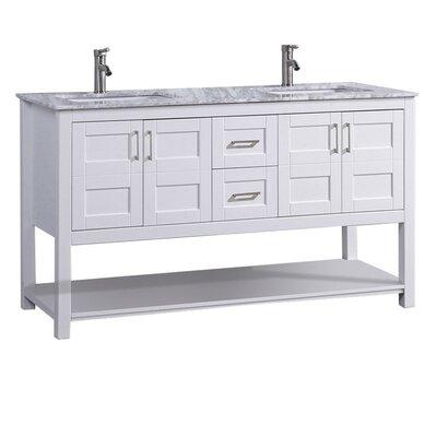 Mallouk Modern 60 Double Bathroom Vanity Set Base Finish: White