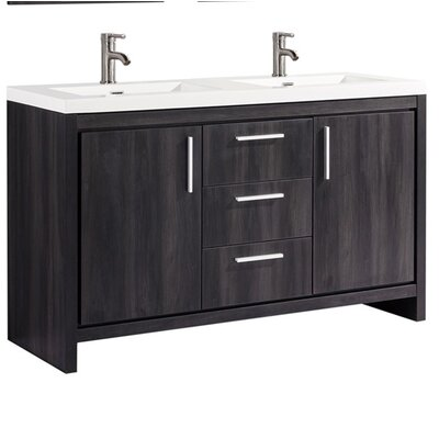 Peiffer Modern 60 Double Bathroom Vanity Set Base Finish: Black Walnut