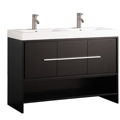 Pouliot Modern 48 Double Bathroom Vanity Set Base Finish: Espresso