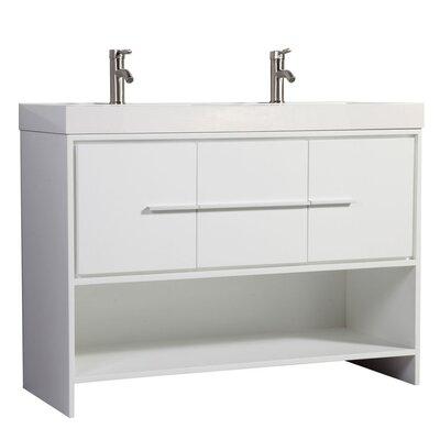 Pouliot Modern 48 Double Bathroom Vanity Set Base Finish: White