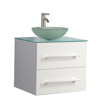 Prange Wall Mounted Modern 24 Single Bathroom Vanity Set Base Finish: White