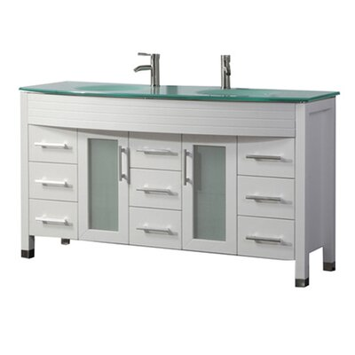 Pratt Modern 71 Double Bathroom Vanity Set Base Finish: White