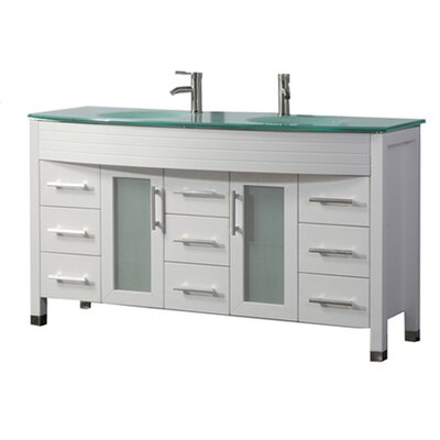 Pratt Modern 63 Double Bathroom Vanity Set Base Finish: White