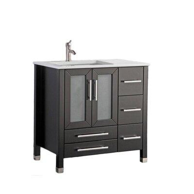 Nadeau Modern Left Side 36 Single Bathroom Vanity Set Base Finish: Espresso