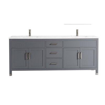 Peralez Modern 84 Double Bathroom Vanity Set Base Finish: Gray