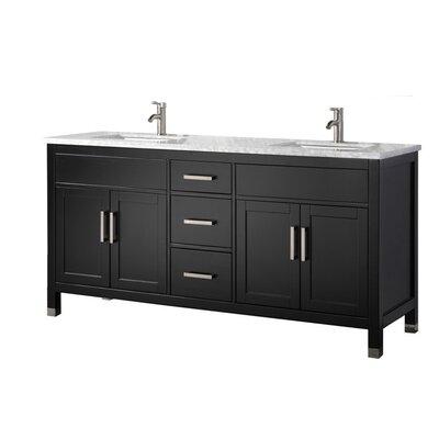 Peralez Modern 72 Double Bathroom Vanity Set Base Finish: Espresso