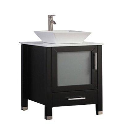 Govea Modern 24 Single Bathroom Vanity Set Base Finish: Espresso