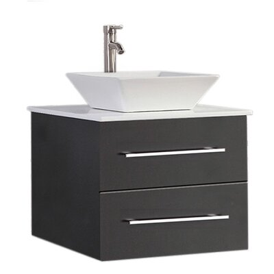 Govea Wall Mounted Modern 24 Single Bathroom Vanity Set Base Finish: Espresso