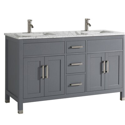Peralez Modern 60 Double Bathroom Vanity Set Base Finish: Gray