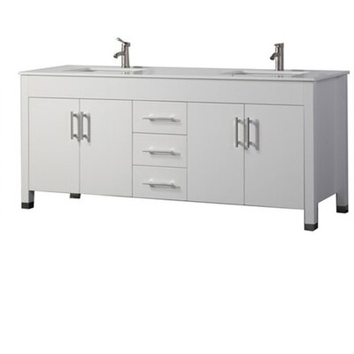 Predmore Modern 60 Double Bathroom Vanity Set Base Finish: White