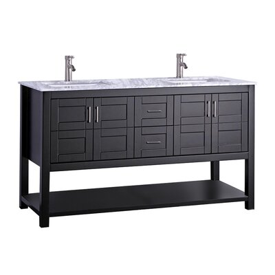 Mallouk Modern 72 Double Bathroom Vanity Set Base Finish: Espresso