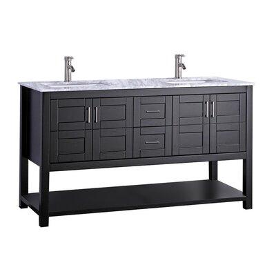 Mallouk Modern 60 Double Bathroom Vanity Set Base Finish: Espresso