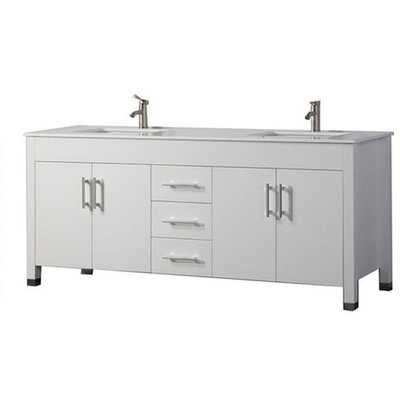 Predmore Modern 72 Double Bathroom Vanity Set Base Finish: White