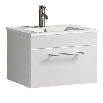 Poulos Modern Wall Mounted 24 Single Bathroom Vanity Set Base Finish: White