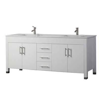 Predmore Modern 84 Double Bathroom Vanity Set Base Finish: White