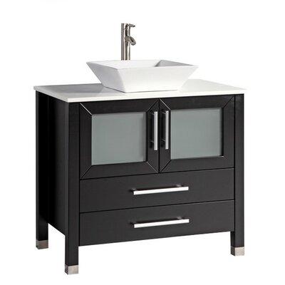 Govea Modern 36 Single Bathroom Vanity Set Base Finish: Espresso