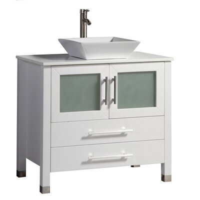 Govea Modern 36 Single Bathroom Vanity Set Base Finish: White