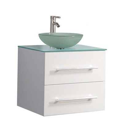 Peirce Wall Mounted Modern 24 Single Bathroom Vanity Set Base Finish: White