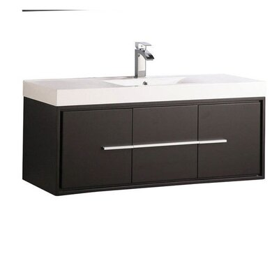 Peirce Wall Mounted Modern 48 Single Bathroom Vanity Set Base Finish: Espresso