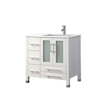 Nadeau Modern Right Side 36 Single Bathroom Vanity Set Base Finish: White