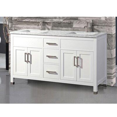 Peralez Modern 60 Double Bathroom Vanity Set Base Finish: White