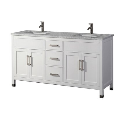 Peralez Modern 72 Double Bathroom Vanity Set Base Finish: White