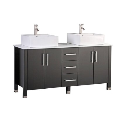 Larock Modern 60 Double Bathroom Vanity Set Base Finish: Espresso