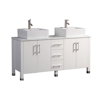 Larock Modern 60 Double Bathroom Vanity Set Base Finish: White