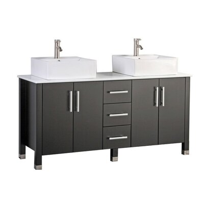 Larock Modern 71 Double Bathroom Vanity Set Base Finish: Espresso